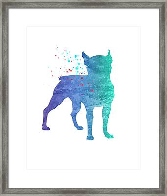 Watercolor Silhouette - Dog Boxer Framed Print