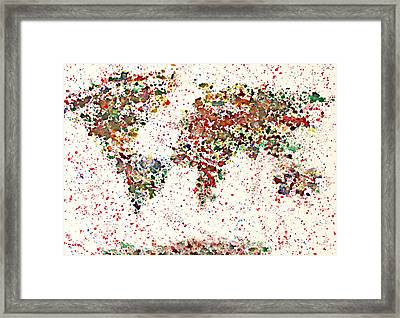 Watercolor Splashes World Map 2 Framed Print by Georgeta  Blanaru