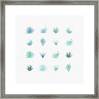 Framed Print featuring the painting Watercolor Succulents by Kristian Gallagher