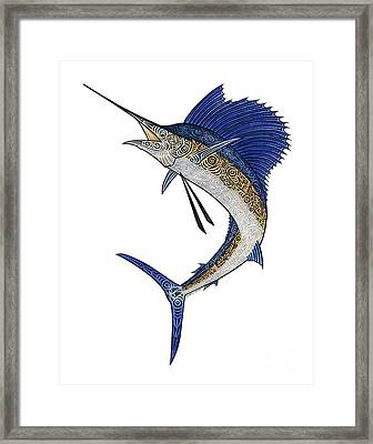 Watercolor Tribal Sailfish Framed Print