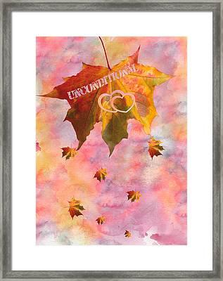 Watercolor Unconditional Love Typography On Leaf Framed Print by Georgeta Blanaru