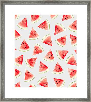 Watercolor Watermelon Pattern Framed Print