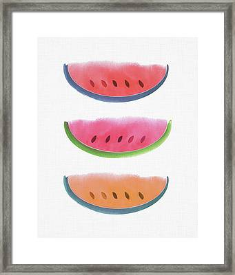 Framed Print featuring the painting Watercolor Watermelon Trio by Kristian Gallagher