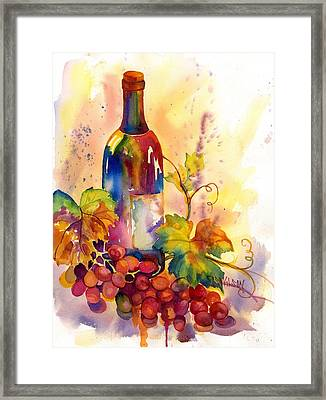 Watercolor Wine Framed Print by Peggy Wilson