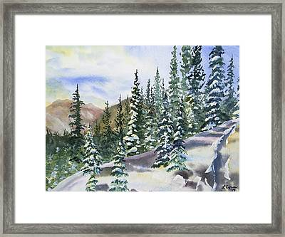 Framed Print featuring the painting Watercolor - Winter Snow-covered Landscape by Cascade Colors