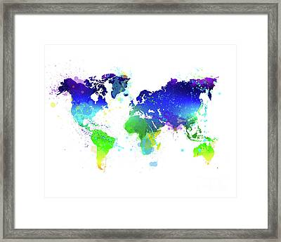 Watercolor World Map Framed Print