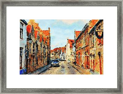 Watercolored Town Framed Print