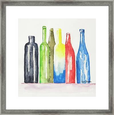 Watercolour Bottles 2 Framed Print