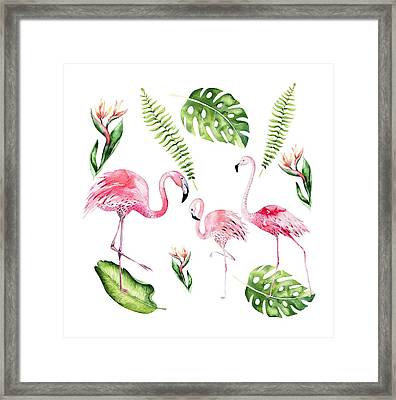 Framed Print featuring the painting Watercolour Flamingo Family by Georgeta Blanaru