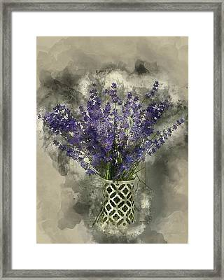 Watercolour Painting Of Beautiful Fragrant Lavender Bunch In Rus Framed Print by Matthew Gibson