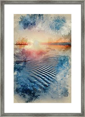 Watercolour Painting Of Beautiful Low Point Of View Along Beach At Low Tide Out To Sea With Vibrant  Framed Print by Matthew Gibson