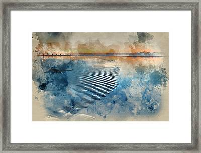 Watercolour Painting Of Beautiful Low Tide Beach Vibrant Sunrise Framed Print by Matthew Gibson