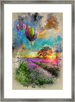 Watercolour Painting Of Hot Air Balloons Flying Over Lavender La Framed Print by Matthew Gibson