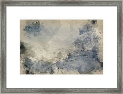 Watercolour Painting Of Moody Dramatic Low Cloud Winter Landscap Framed Print