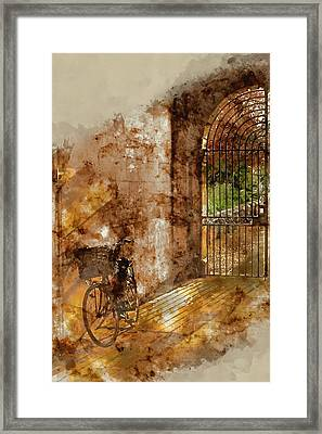 Watercolour Painting Of Old Bicycle In Cambridge University Campus Framed Print by Matthew Gibson