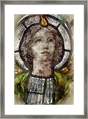Watercolour Painting Of Stained Glass Religious Window In Church Framed Print by Matthew Gibson