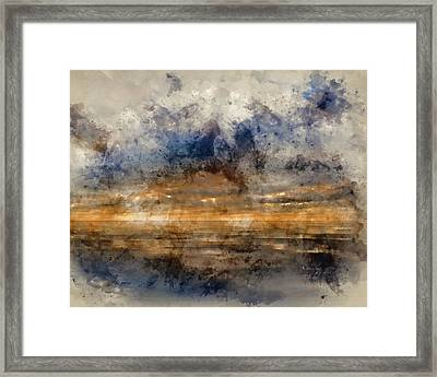 Watercolour Painting Of Stunning Inspirational Sunset Image With Framed Print