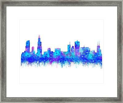 Framed Print featuring the painting Watercolour Splashes And Dripping Effect Chicago Skyline by Georgeta Blanaru