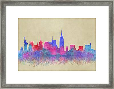 Framed Print featuring the digital art Watercolour Splashes New York City Skylines by Georgeta Blanaru