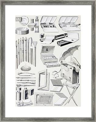 Watercolour Tools And Supplies. From Framed Print by Vintage Design Pics