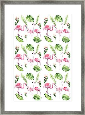 Framed Print featuring the painting Watercolour Tropical Beauty Flamingo Family by Georgeta Blanaru