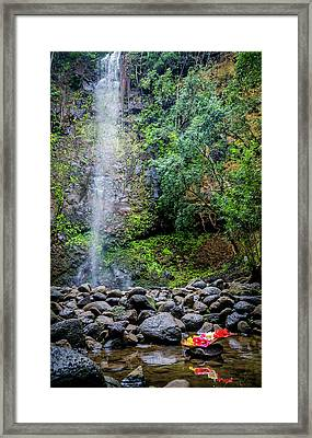Waterfall And Flowers Framed Print