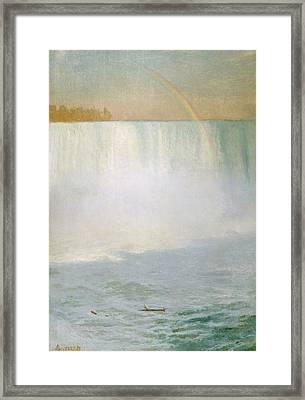Waterfall And Rainbow At Niagara Falls Framed Print by Albert Bierstadt