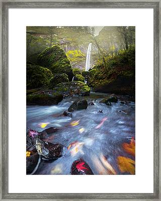 Waterfall And Stream With Fluxing Autumn Leaves Framed Print