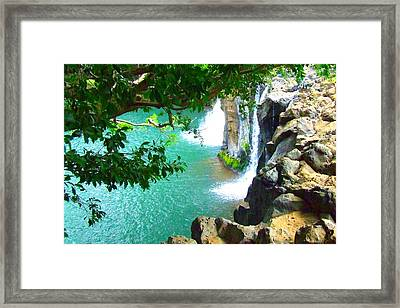 Waterfall At Peter Pan's Treehouse Framed Print