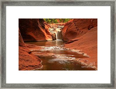 Waterfall At Red Cliffs Framed Print