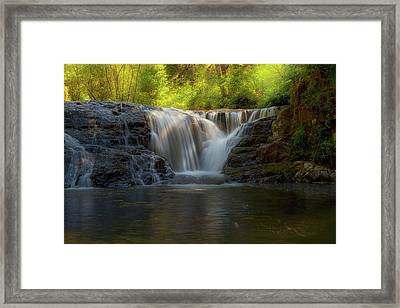 Waterfall At Sweet Creek Hiking Trail Complex Framed Print by David Gn