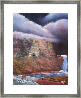 Framed Print featuring the painting Waterfall by Barbara Hayes