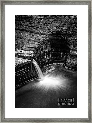 Waterfall Black And White Watkins Glen State Park New York Framed Print by Edward Fielding
