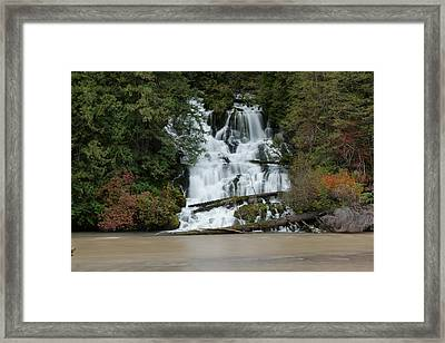 Waterfall Flowing Into The Klickatat River Framed Print by Jeff Swan