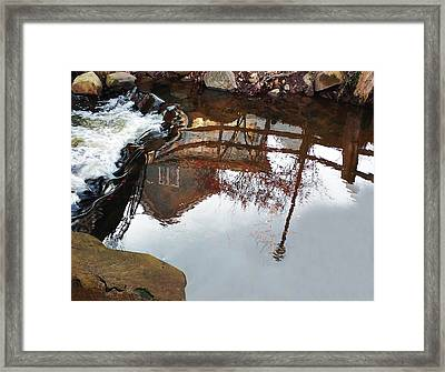 Waterfall From Calm Waters Framed Print