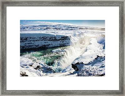 Framed Print featuring the photograph Waterfall Gullfoss Iceland In Winter by Matthias Hauser