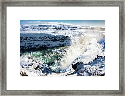 Waterfall Gullfoss Iceland In Winter Framed Print by Matthias Hauser