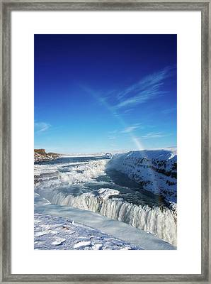 Framed Print featuring the photograph Waterfall Gullfoss In Winter Iceland Europe by Matthias Hauser