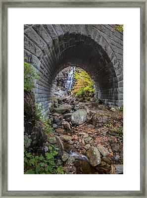 Waterfall In Acadia Framed Print by Jon Glaser