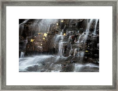 Waterfall In Autumn Sunlight Framed Print