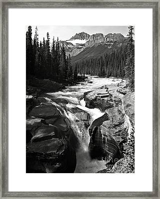 Waterfall In Banff National Park Bw Framed Print by RicardMN Photography