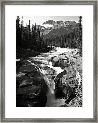 Waterfall In Banff National Park Bw Framed Print