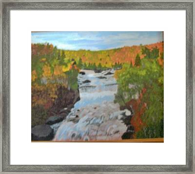 Waterfall In Fall Framed Print by Juanita Couch