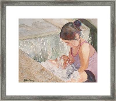 Waterfall In Her Lap Framed Print by Jenny Armitage