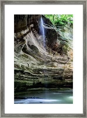Waterfall In Illinois Sandstone Canyon Framed Print by Sven Brogren