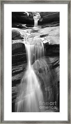 Waterfall In Nh Black And White Framed Print