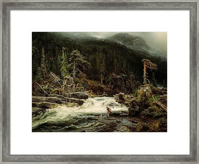 Waterfall In Telemark Framed Print
