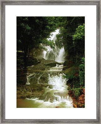 Waterfall In Thailand Framed Print
