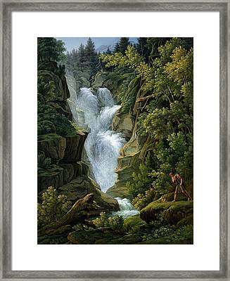 Waterfall In The Bern Highlands Framed Print by Joseph Anton Koch