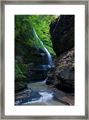 Waterfall In The Gorge Framed Print